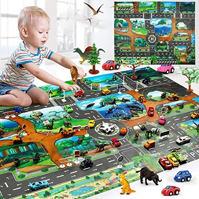 Play Mat Map Traffic Road Game Floor (83 X 57cm)