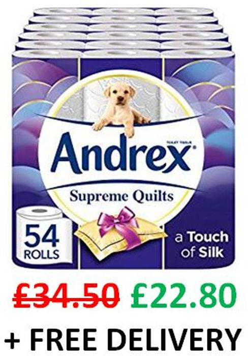 54 Andrex Supreme Quilts Toilet Rolls - SAVE £11.70 + FREE DELIVERY