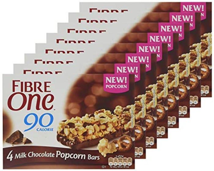 Fibre One 90 Calorie Milk Chocolate Popcorn Bars 21g (Pack of 32 Bars)