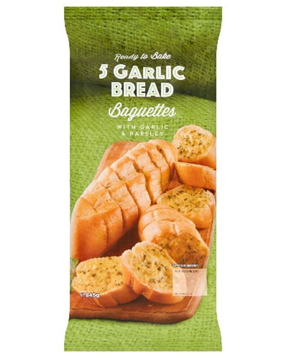 Ready to Bake 5 Garlic Bread Baguettes 845g with 50% Discount