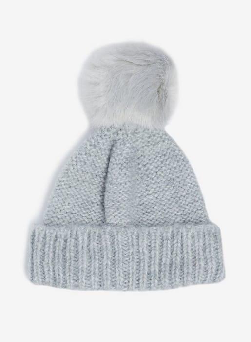 Grey Knit Pompom Faux Fur Beanie