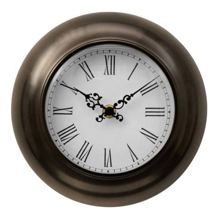 FIFTY FIVE SOUTH Bronze Effect Metal Wall Clock