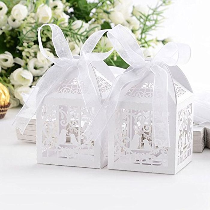 50pcs Laser Cut Wedding Sweets Love Favour Boxes