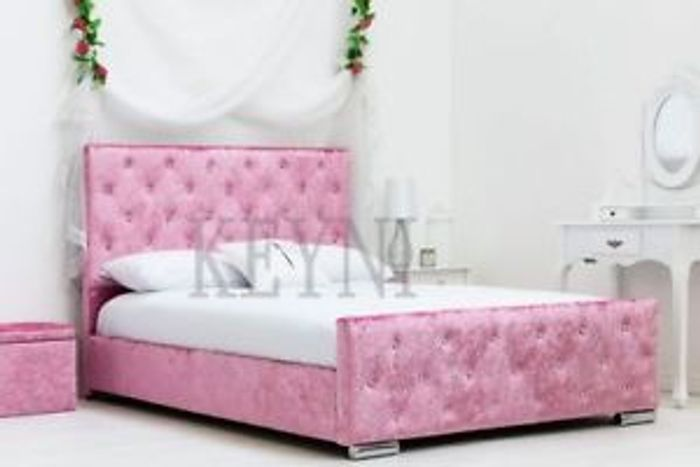 Pink Crushed Velvet Diamante Bed