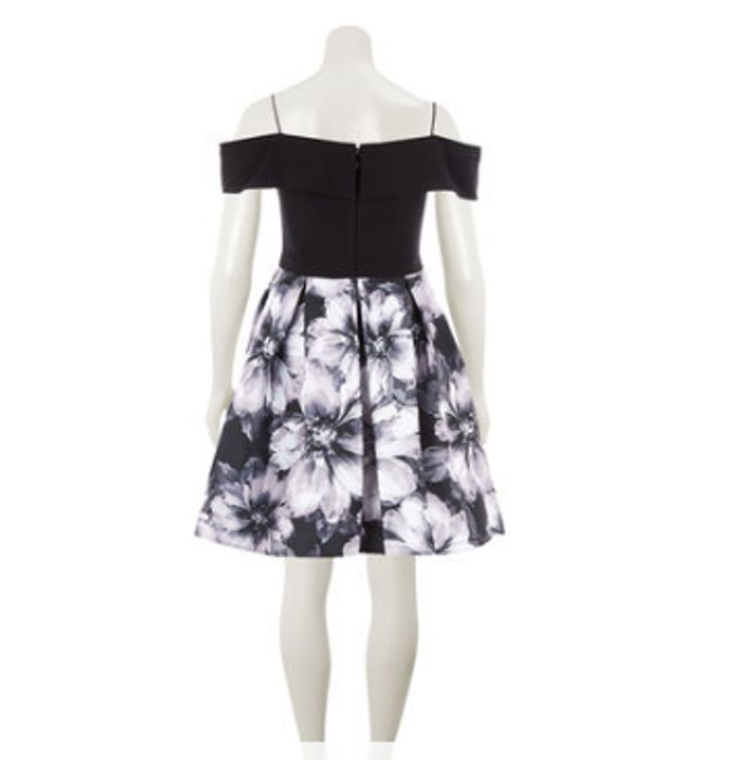MORGAN & CO. Black off the Shoulder Floral Dress