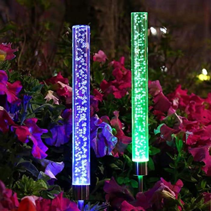 PREKIAR Waterproof Solar Acrylic Bubble Light, RGB Color Changing