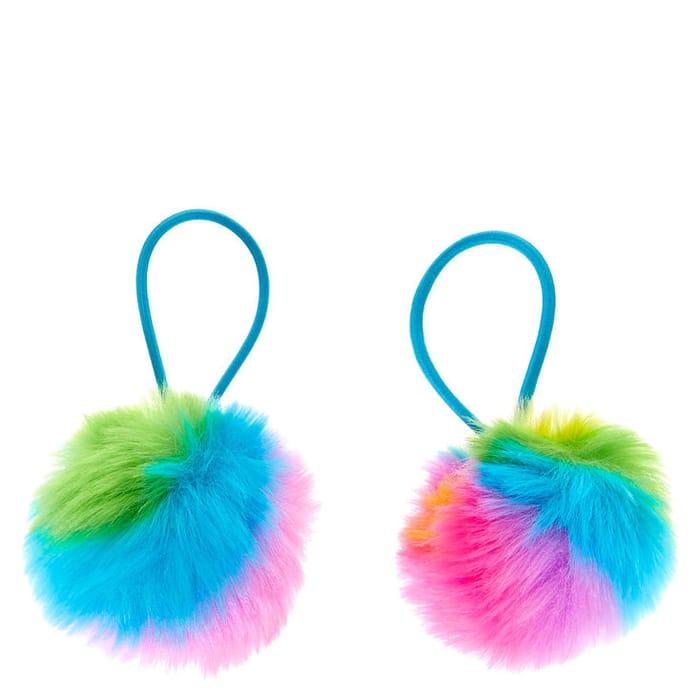 Rainbow Pom Pom Hair Bobbles