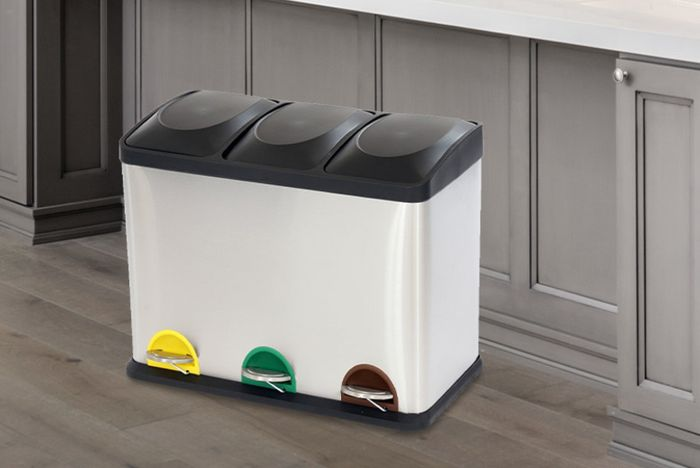 Kitchen Triple-Compartment Re-Cycle Pedal Bin