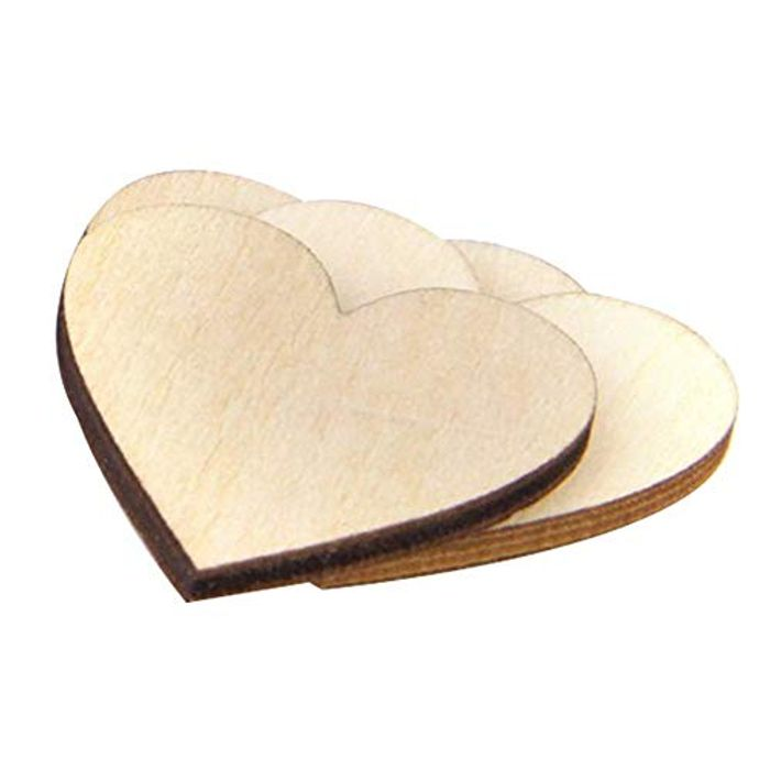 CRAFT BOX ALERT 200 X 10mm Wooden Hearts FREE DELIVERY