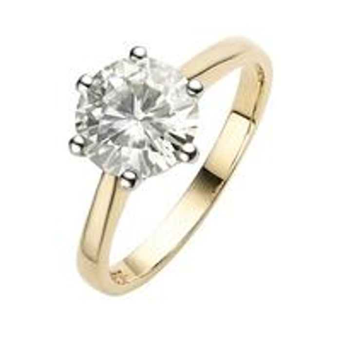 *SAVE £100* Moissanite 9 Carat Yellow Gold 2 Carat Solitaire Ring