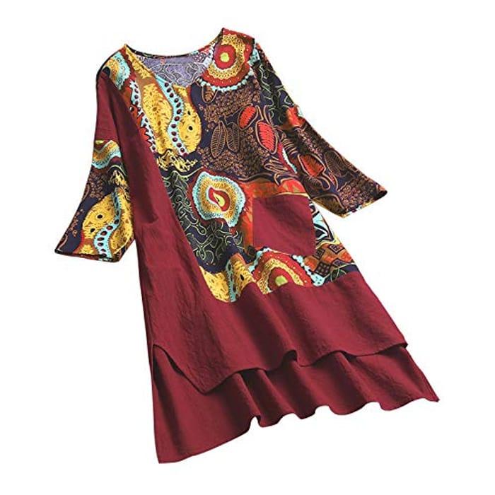 Ladies v Neck Print Dress
