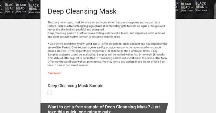 Free Sample Deep Cleansing Mask