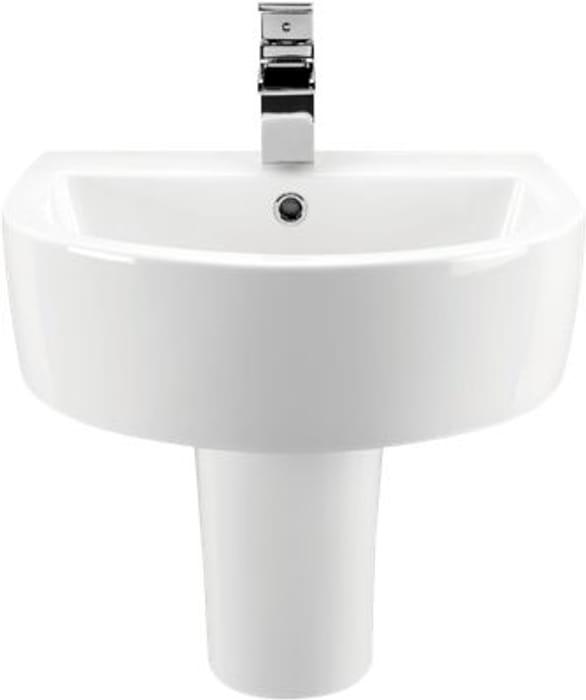Wickes Style Ceramic Basin with Semi Pedestal - 500mm