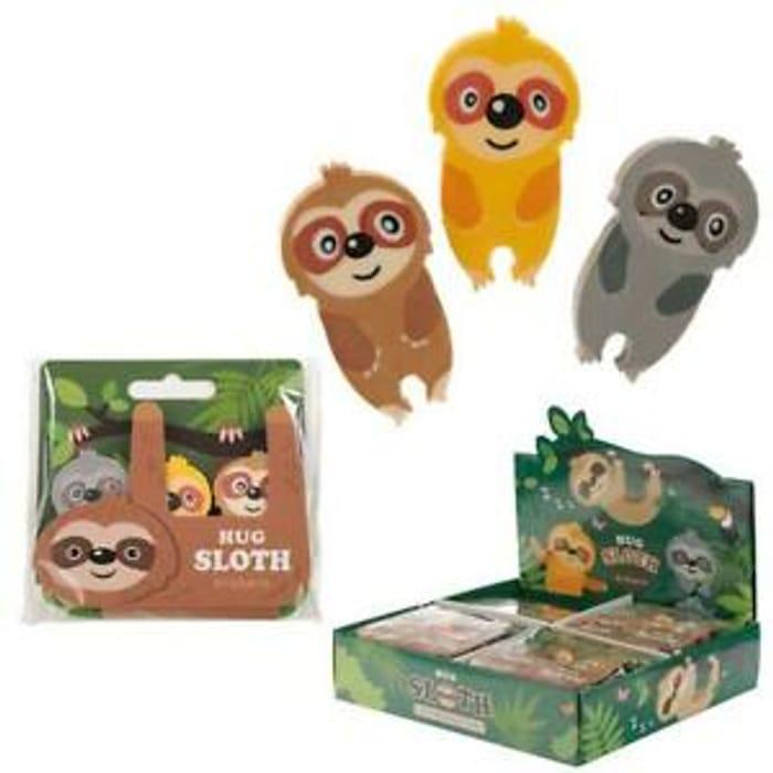 Hug Sloth 3 Piece Eraser Set Rubbers School Pencil Case Zoo Animal