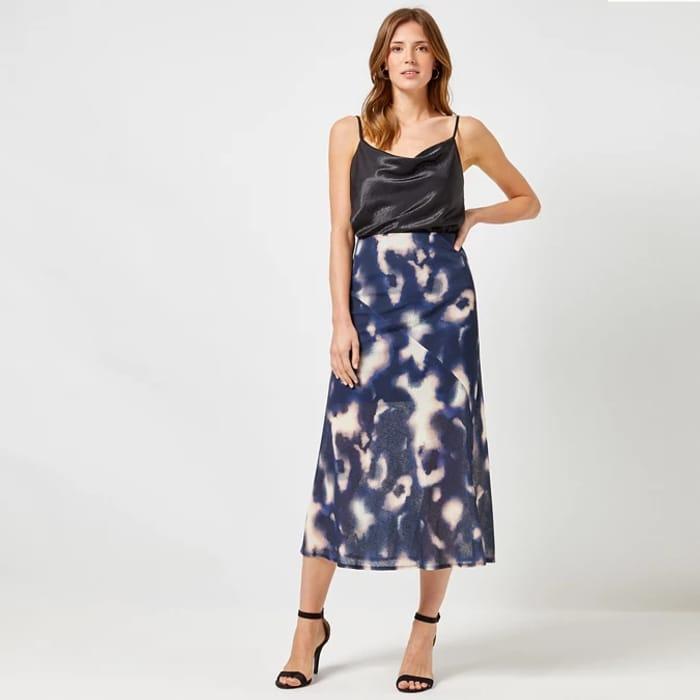 Dorothy Perkins Navy Tie Dye Mesh Skirt Now £4.80