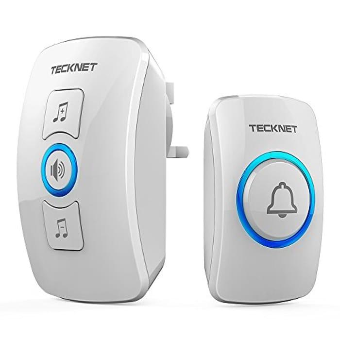 TeckNet Wireless Doorbell, Wall Plug-in Cordless Door Chime with 32 Chimes