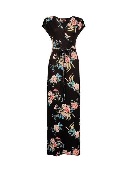 Best Price Black Wrap Belted Jersey Maxi Dress