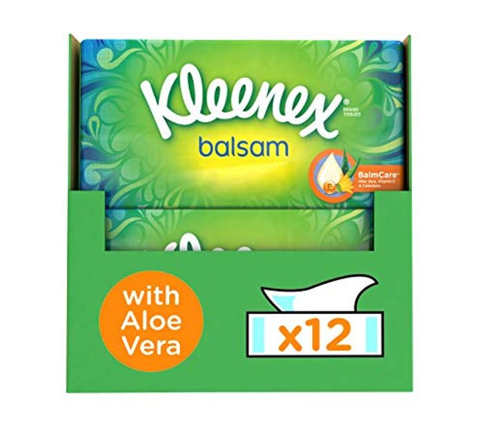 Best Ever Price! Kleenex Balsam Facial Tissues Pack of 12 Tissue Box Cold & Flu