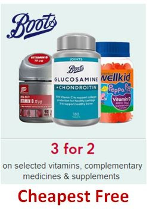 3 for 2 on Vitamins, Supplements, Health Foods & Complementary Medicines