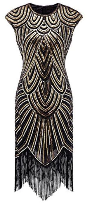 1920s Art Deco Sequin Tassel Glam Party Dress