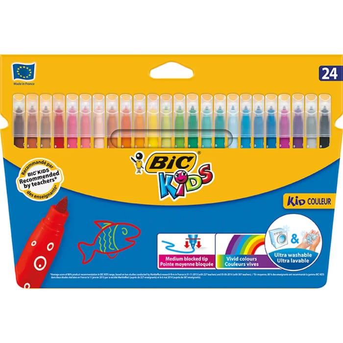 Cheap Bic Kid Colour Felt Tip Pens 24 Pack - Save £1.5