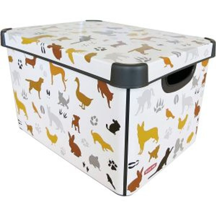 Best Price Curver Deco Stokholm Large Pet Toy Storage Box with Lid 22L