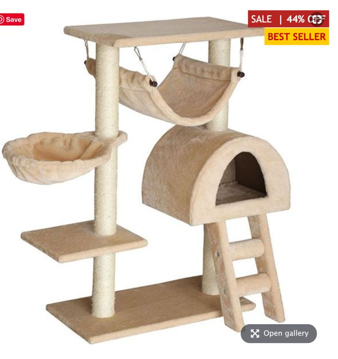 Purrshire Climber Cat Activity Centre with Ladder - Beige