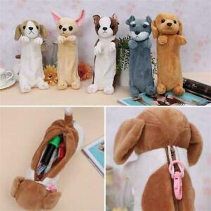 Cartoon Plush Dog Pencil Case Animal Pen Bag Kids School Useful Supplies