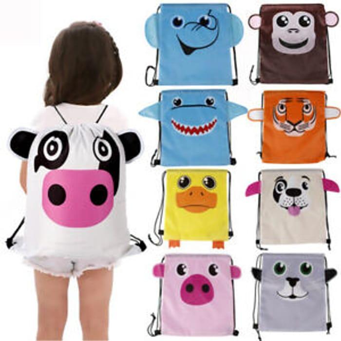Cartoon Animals Kids Drawstring Backpack School Bag Children's Gift Party Bags
