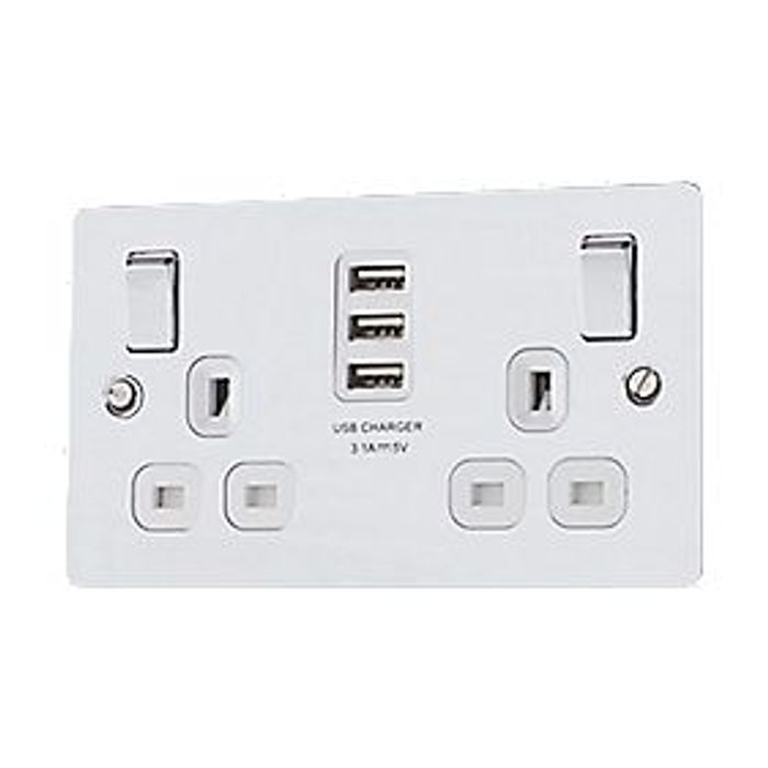 2-Gang Sp 13a Switched Socket + 3.1a 3-Outlet Usb Charger Polished Chrome