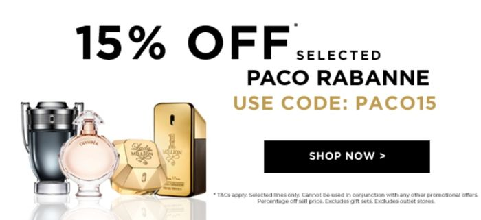 15% off Selected Paco Rabanne Fragrances