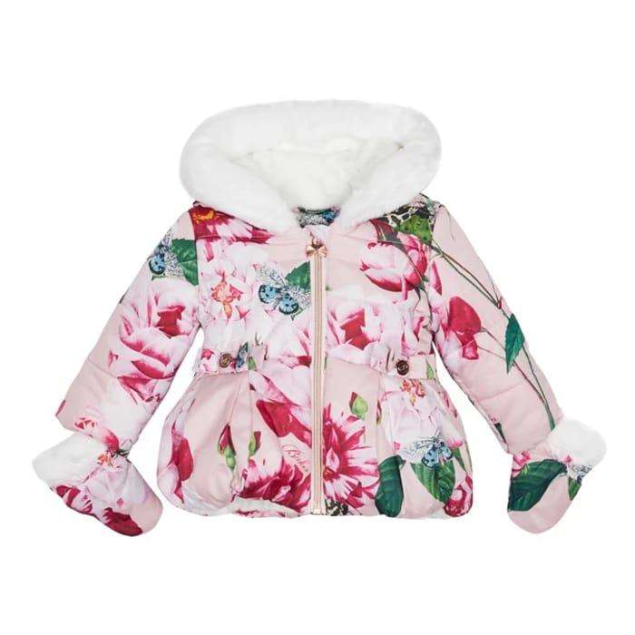 Baker by Ted Baker - Baby Girls' Pink Floral Print Shower Resistant Coat