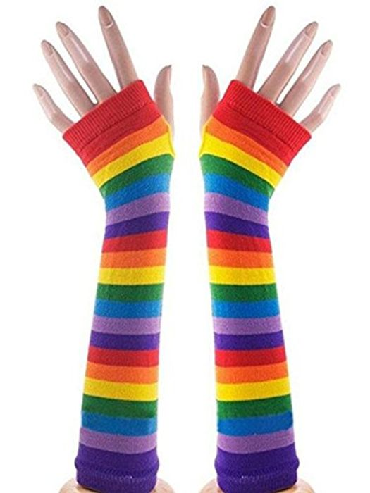 VISKEY Lady Knitting Long Fingerless Gloves Rainbow FREE DELIVERY