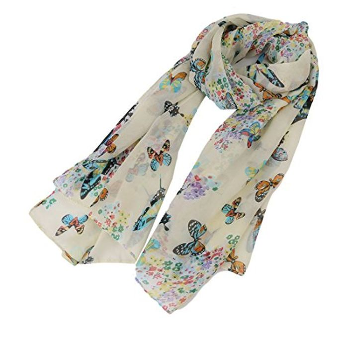 Best Price EJY Women Lady Chiffon Butterfly Print Scarf FREE DELIVERY