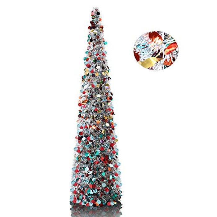YuQi 5' Silver Point Tinsel Pop-Up Artificial Christmas Tree at Amazon