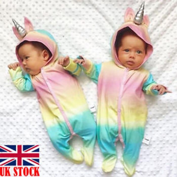 Bargain! Baby Girl Unicorn Hooded Romper at Ebay