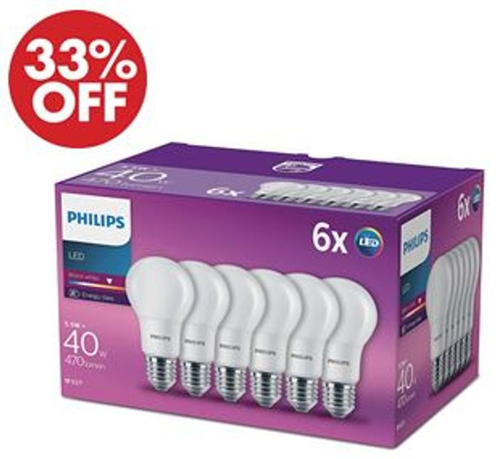 SAVE £6 Philips LED E27 Frosted Light Bulbs, 5.5 W (40 W) Warm White, 6 Pack