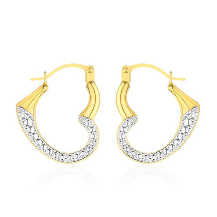 Cheap Diamond Textured Open Heart Creople Hoop Earrings at Tjc, Only £23.99
