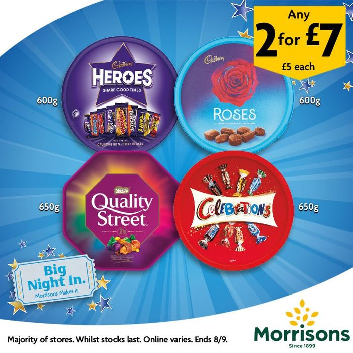 Two Tubs of Roses, Celebrations, Quality Street and Heroes for £7