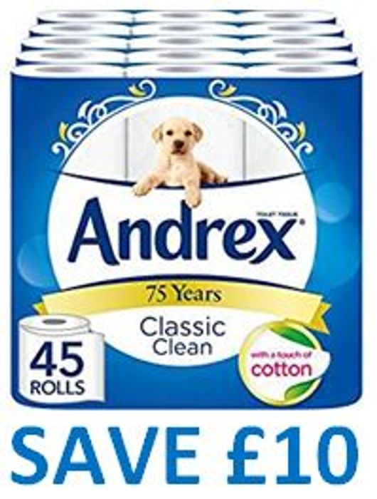 SAVE £10 - 45 Andrex Classic Clean Toilet Rolls - Just 36p a Roll!