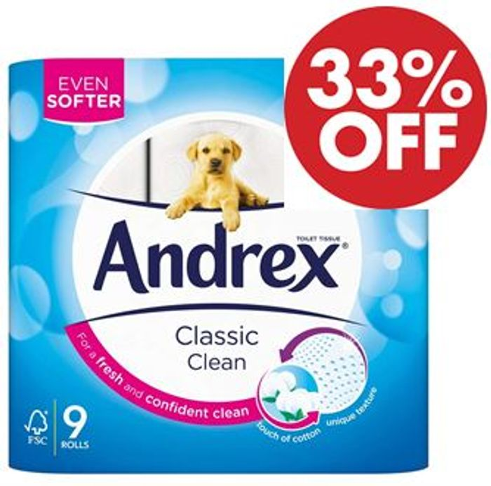 33% off - Andrex Classic Clean Toilet Tissue, 9 Rolls (39p a Roll) AMAZON PANTRY