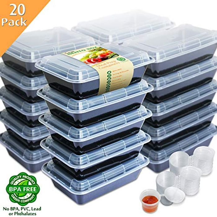 Enther 20PCCPT1 Bento Boxes, Plastic, 20 Pack 1 Compartment with Portion Cups