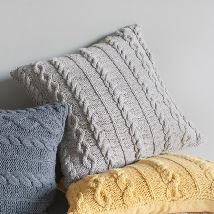 Walton Cable Knit Cushion Natural 450x450mm