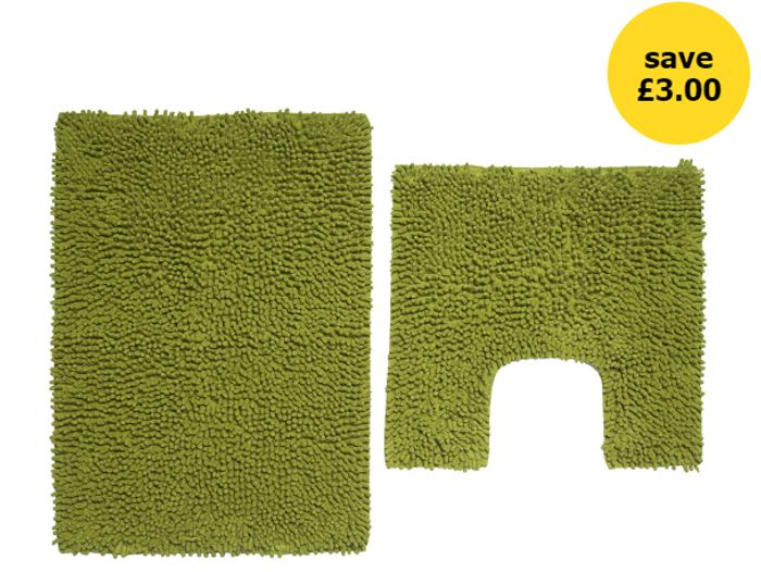 Wilko Green Bathmat Set at Wilko Only £5