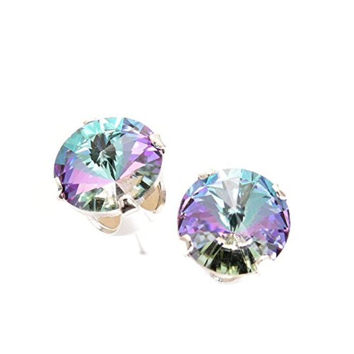 Lightning Deal 925 Sterling Silver Stud Earrings Swarovski Crystal