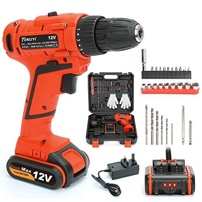 Up to 50% off 12V Cordless Drill Driver Set, Lithium-Ion Screwdriver