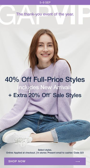 GAP - VIPs Only: 40% off FULL-PRICE + 20% off Sales