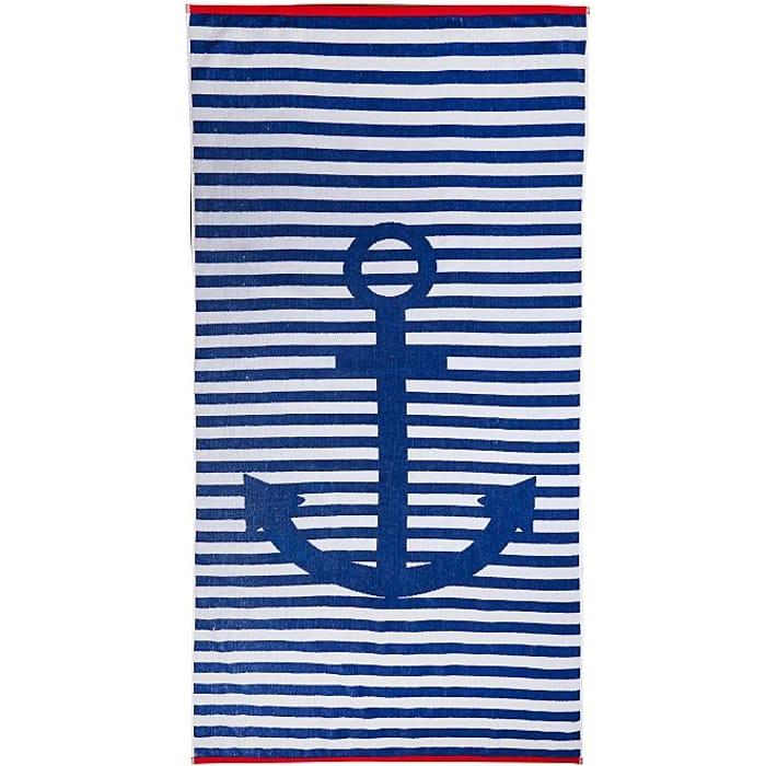 Blue Anchor Striped Cotton Beach Towel