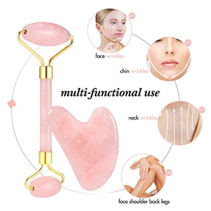 Jade Face Roller Rose Quartz Massage Scraping Jade Stone