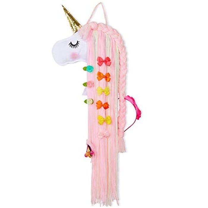 Unicorn Hair Clip Organizer for Girls Wall Hanging Decor & Baby Hair Bow Holder